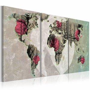 Schilderij - Moonlight map, wereldkaart , rood grijs , 3 luik , 2 maten