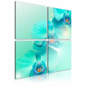 Schilderij - Hemelsblauwe orchideeën , 4 luik ,  2 maten