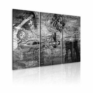 Schilderij - Symbolen van New York City , zwart wit , 3 luik , 2 maten