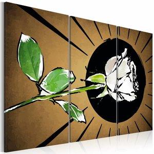 Schilderij - Getekende roos , bruin groen , 3 luik