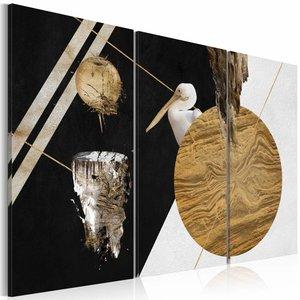 Schilderij - Verbazing van een ooievaar , beige zwart , 3 luik , 2 maten