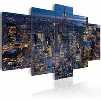 Schilderij - Slaap lekker New York , blauw , 5 luik