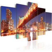 Schilderij - New York, gouden reflectie , blauw oranje , 5 luik