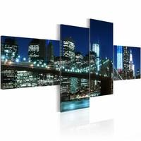 Schilderij - Brooklyn Bridge bij nacht, New York , blauw , brug , 4 luik