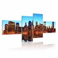 Schilderij - New York , blauw, bruin , 4 luik