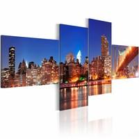 Schilderij - Night panorama - New York , blauw oranje , 4 luik