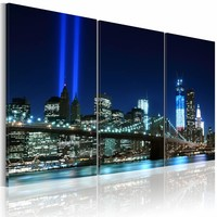 Schilderij -Blauwe lichten in New York , brug , 3 luik , 2 maten