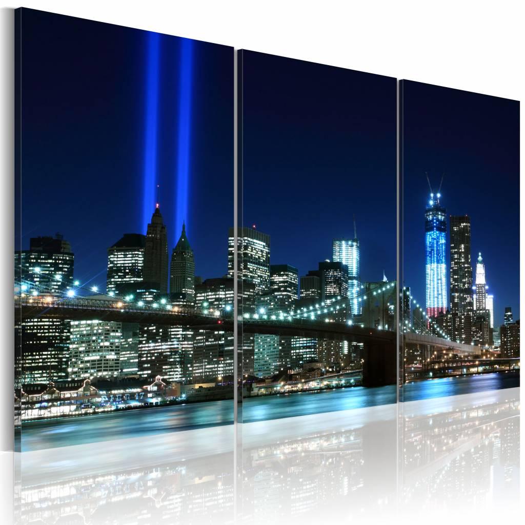 Schilderij -Blauwe lichten in New York , brug , 3 luik