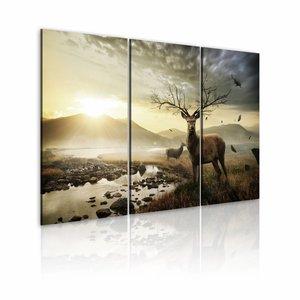 Schilderij - Hert met prachtig gewei , groen beige , 3 luik , 2 maten