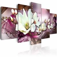 Schilderij - Orchidee , roze wit , 5 luik , 2 maten