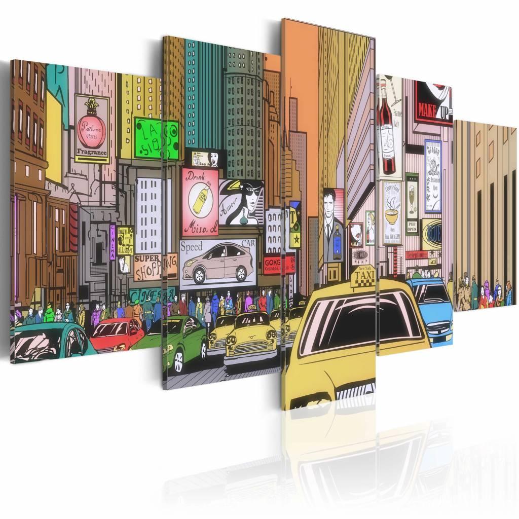 Schilderij - Tekening van New York, multi kleur , 5 luik