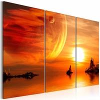 Schilderij - Utopische schemering , oranje , 3 luik , 2 maten