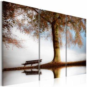 Schilderij - Poëtisch landschap , bruin grijs , 3 luik , 2 maten , boom
