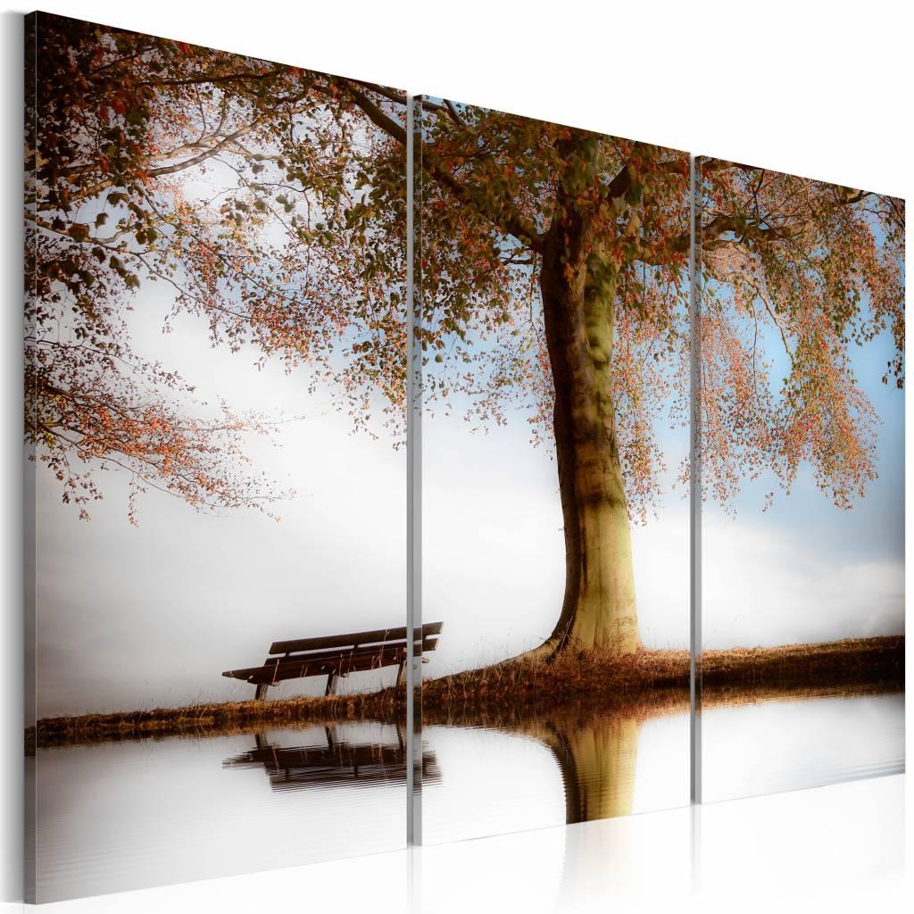 Schilderij - Po�tisch landschap , 3 luik , boom