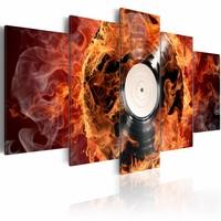 Schilderij - Vinyl in vlammen , oranje , 5 luik