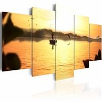 Schilderij - Zonsondergang over meer , geel bruin , 5 luik