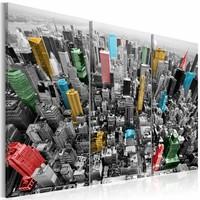 Schilderij - New York in CMYK kleuren , multi kleur , 3 luik