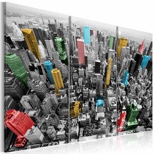 Schilderij - New York in CMYK kleuren , multi kleur , 3 luik , 2 maten