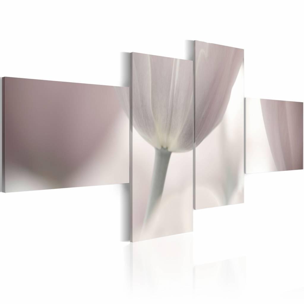 Schilderij - Pastelkleurige tulp , wit roze , 4 luik