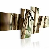 Schilderij - Bamboe als inspiratie , beige , 4 luik , 2 maten