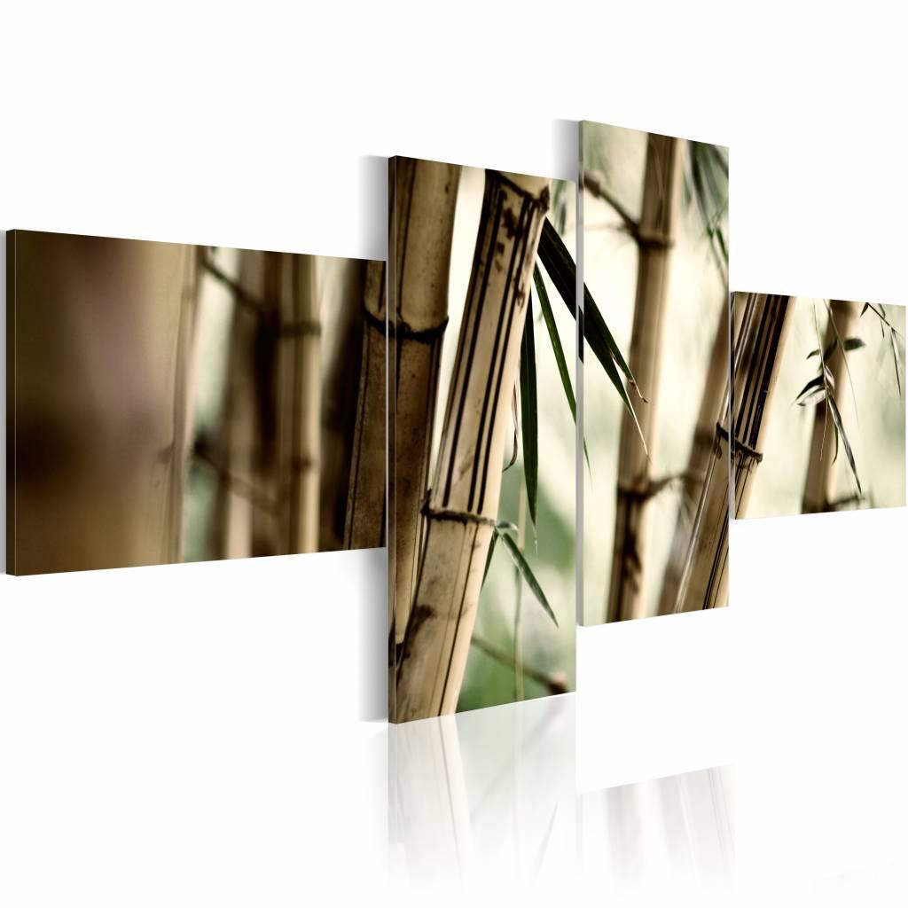 Schilderij - Bamboe als inspiratie , beige , 4 luik