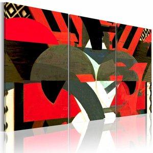 Schilderij - Magie - abstracte vormen, rood en zwart , 3 luik , 2 maten