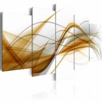 Schilderij - Abstract , wit bruin , 5 luik