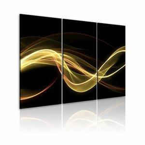 Schilderij - Lichte rook op donkere achtergrond , geel zwart , 3 luik , 2 maten