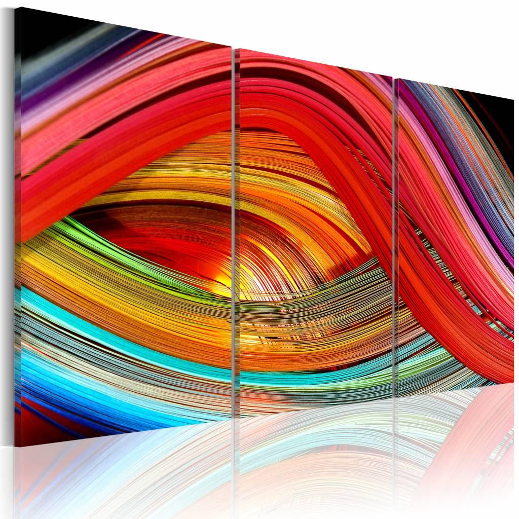 Schilderij - Abstracte regenboog , multi kleur , 3 luik