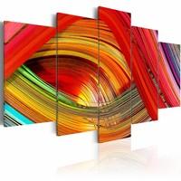 Schilderij - Abstractie met kleurrijke streepjes , multi kleur , 5 luik