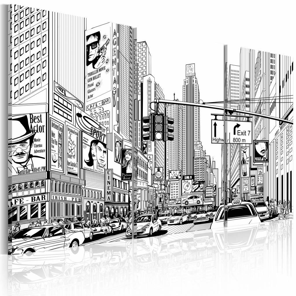 Schilderij - Comic style in zwart en wit, New York , 3 luik