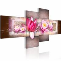 Schilderij - Water lelies , roze grijs , 4 luik