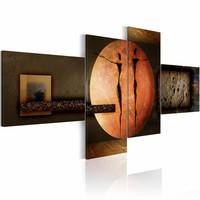 Schilderij - Kleuren van de wereld , oranje bruin , 4 luik