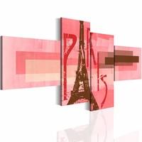 Schilderij - Eiffeltoren, Parijs , roze ,  4 luik
