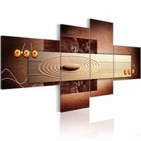 Schilderij - Cirkels in het abstracte , 4 luik , bruin