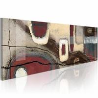 Schilderij - Fancy rechthoeken  , 120x40cm , 1 luik rood beige