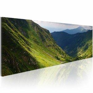 Schilderij - In de vallei  , 120x40cm 1 luik , groen blauw
