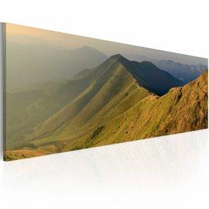 Schilderij - Bergen en zonsondergang  ,  120x40cm , 1 luik , bruin