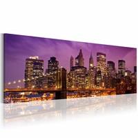 Schilderij - Nacht in New York  , 120x40cm , 1 luik , paars bruin