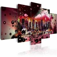 Schilderij - Kleuren boven New York , 100x50cm , roze zwart , 5 luik