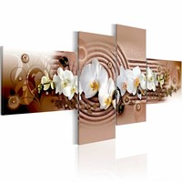 Schilderij - Passie , wit roze orchidee , 4 luik ,  100x45cm