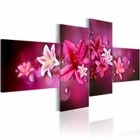 Schilderij - Lelies en parels ,roze wit ,  4 luik