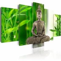 Schilderij - Boeddha op het water , groen grijs , 5 luik