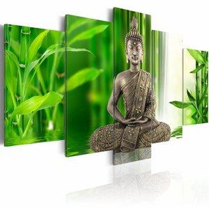 Schilderij - Boeddha op het water , groen grijs , 5 luik , 2 maten
