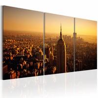 Schilderij - New York ,  120x60 , oranje  ,  3 luik