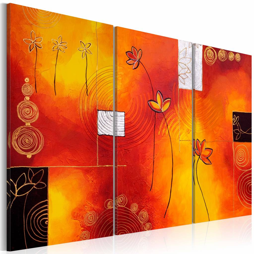 Schilderij - Bloei in rood en oranje , 3 luik