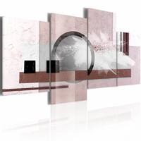 Schilderij - Abstractie met een parel , 80x45cm , 5 luik , roze bruin