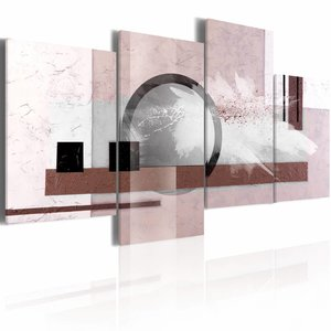 Schilderij - Abstractie met een parel , 80x45 , 5 luik , roze bruin