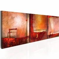 Schilderij - Stilte , 120x40cm ,  3 luik , rood roze