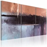 Schilderij - Plastic energy 120x60 , 3 luik , bruin grijs